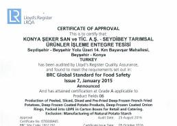 Seydibey - BRC Food V7 Certificate 2016