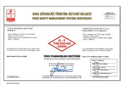Çumra Şeker TS - EN ISO 22000 Food Safety Management System Certificate