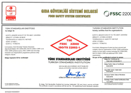 Çumra Şeker TSE FSSC 22000 Food Safety Management System Certificate