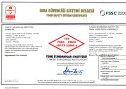 Çumra Şeker TSE FSSC 22000 Gıda Güvenliği Yönetim Sistemi Belgesi