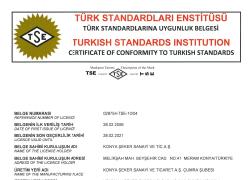 Çumra Şeker Türk Standardlarına Uygunluk Belgesi