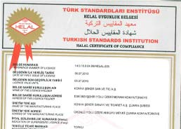 Konya Şeker Halal Food Compliance Certificate - Hard Candy - Tahin Halva - Turkish Delight, Jelly, Confectionary