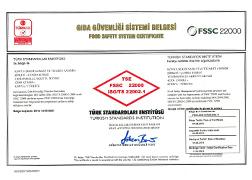 Çumra Şeker TSE - FSSC 22000 Gıda Güvenliği Yönetim Sistemi Belgesi