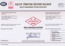 TSE-ISO-EN 9001 CERTIFICATE