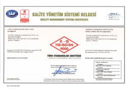 ISO 9001:2015 Kalite Yönetim Sistemi Belgesi
