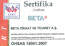 Beta Ziraat OHSAS 18001:2007 İş Sağlığı ve Güvenliği Yönetim Sistemi Belgesi