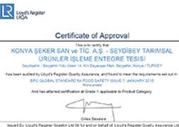 Seydibey - BRC Food V7 - 2017 Certificate
