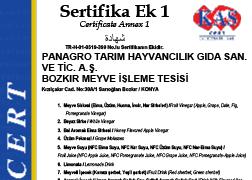 NO ON HELAL SERTİFİKASI - EK 1