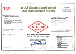Çumra Şeker TS - EN ISO 50001 Energy Management System Certificate