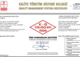 TSE - ISO - 9000 - Kalite Yönetim Sistem Belgesi