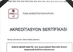 شهادة الاعتماد لشركة كونيا للسكر