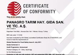 Panagro BRC Certificate