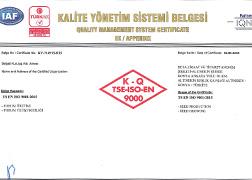 Beta Ziraat ISO 9001:2015 Quality Management System Certificate