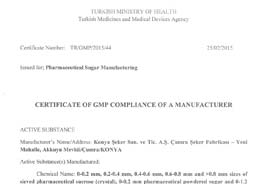 GMP Certificate of GMP Compliance of a Manufacturer