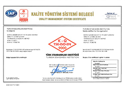 Çumra Şeker TSE EN ISO 9000 Quality Management System Certificate