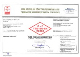 Çumra Şeker Sugary Products TSE - ISO - 22000