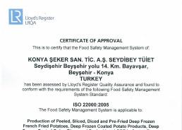 Seydibey - TUIET ISO 22000 Certificate 2016