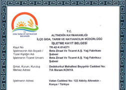 Vegetable Oil Factory Registration Certificate for Foodstuff