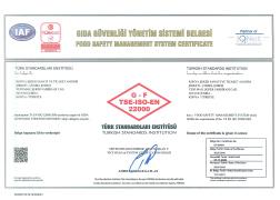 ÇUMRA ŞEKER TS EN ISO 22000 GIDA GÜVENLİĞİ BELGESİ