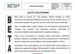 Yağ Fabrikası Kalite Politikası