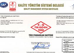 ISO 9001 - Kalite Yönetim Sistemi Sertifikası
