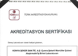 Konya Şeker Acreditation Certificate