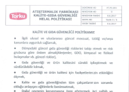 Atıştırmalık Fabrikası Kalite-Gıda Güvenliği Helal Politikası