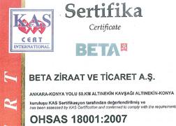 بيتا للزراعة شهادة نظام إدارة الصحة والسلامة المهنية OHSAS 18001:2007
