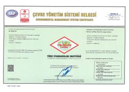 Çumra Şeker TS - EN - ISO 14001 Çevre Yönetim Sistemi Belgesi