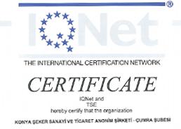 Çumra Şeker TSE EN ISO 50001 Enerji Yönetim Sistemi Belgesi
