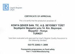 Seydibey - TUIET ISOTS 22002 Certificate 2016