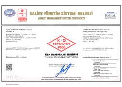 BİYOETANOL TESİSİ TS EN ISO 9001-2015 KALİTE YÖNETİM SİSTEM BELGESİ