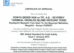 Seydibey - BRC Food V7 - Certificate - 2015