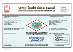Çumra Şeker TSE - EN ISO 14001 Environment Management System Certificate