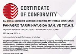 Panagro BRC Certificate Meat