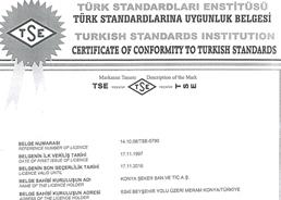 Konya Şeker Türk Standartlarına Uygunluk Belgesi - 17/11/2016