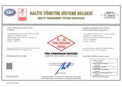 TS EN ISO 9001 KALİTE YÖNETİM SİSTEMİ BELGESİ